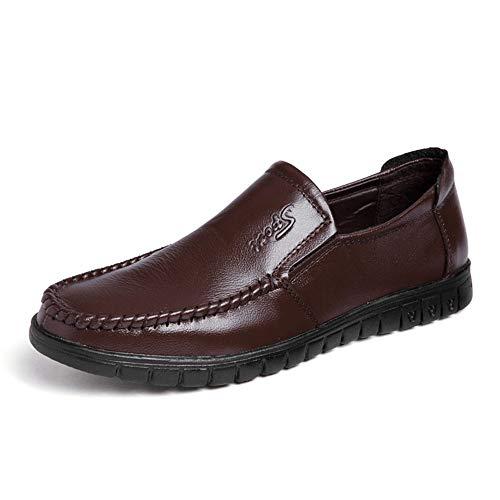 Candys house Zapatos formales Oxford de moda para hombre, cómodos y ligeros, suela baja antideslizante (color: marrón, talla: 7.5 UK)
