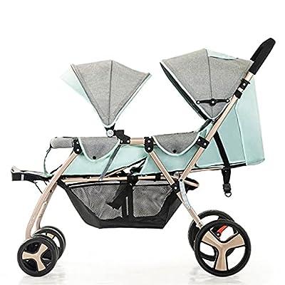 CYANQ Cochecito Doble para bebés y niños pequeños, Cochecito de bebé con tándem de Alto Paisaje Ligero, paseante Doble Plegable fácil