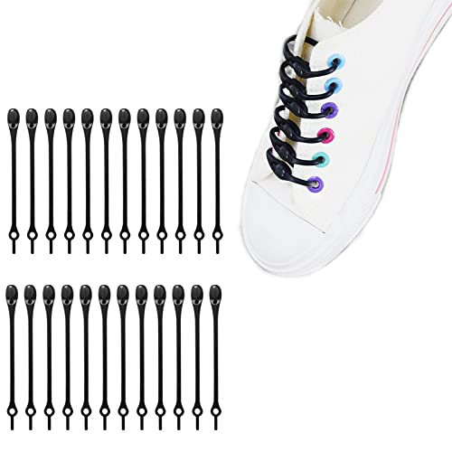 24 pcs Lazy Tying-Free Elastic Shoelaces, Laces Special No Tie Rubber, for Kids and Adults, Elastic Shoelaces for Sneakers (Black)