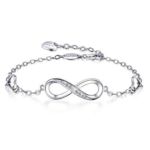 Van Chloe Women 925 Sterling Silver Bracelet Ankle Bracelet Infinity Love Heart Diamond Adjustable Bracelet Teens Girls Women Jewelry Valentine's Day