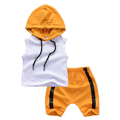TTLOVE Jungen Kleidung Kinder Neugeborenen Ärmellos Hoodie Weste Kapuzenpullover Sweatshirt Kurz Hosen Baby Boy Tops Shorts Sommer Outfits Set (Weiß,80 cm,6-12 Monate)