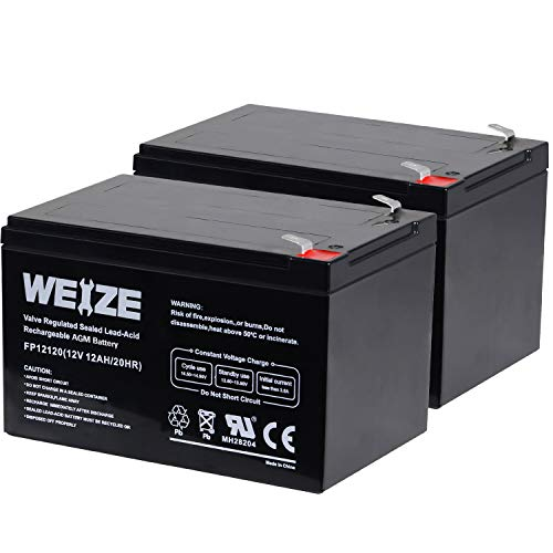 Weize 12 Volt 12AH SLA Rechargeable Battery Replace UB12120, EXP1212, 6FM12, LHR12-12, GPS12-12, F2, 2 Pack