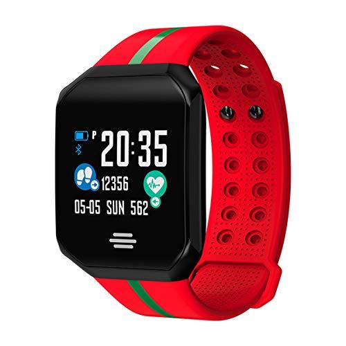 ZNMJW Smart Watch, groot scherm IP67 waterdichte hartslag bloeddruk monitoring, beller informatie herinnering, kan worden gebruikt voor sport, hardlopen, size, Rood