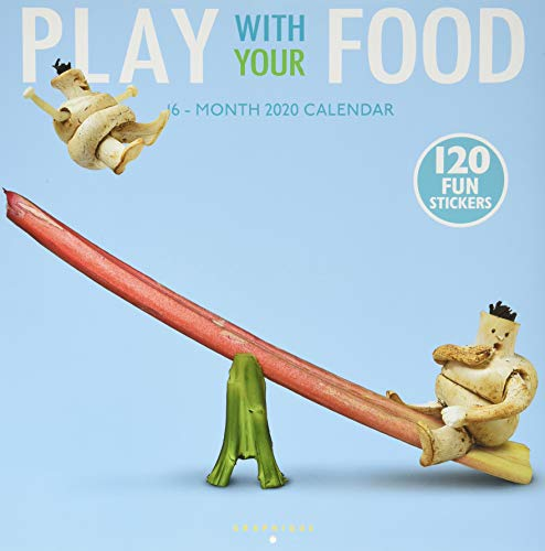 """Graphique Play With Your Food Wall Calendar, 16-Month 2020 Wall Calendar with Fun Food-Based Photographs, 3 Languages & Major Holidays, 2020 Calendar, 12"""" x 12"""""""