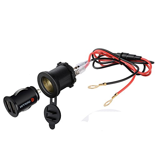 BlueFire 3in1 Waterproof Motorcycle Scooter Cigarette Lighter Socket Power Plug + Dual 3.1A USB Charger Socket + 60CM Power Cable