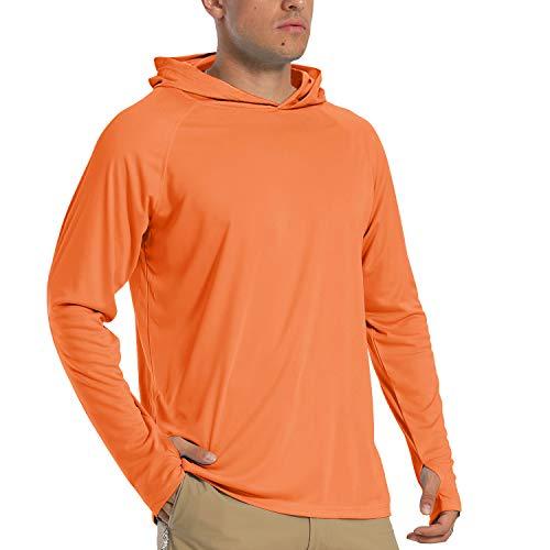TACVASEN - Camiseta de manga larga para hombre, protección UV UPF 50+, con capucha, secado rápido, para exteriores, ligera, con capucha, Hombre, TAC-182-Orange-L-1, naranja, medium