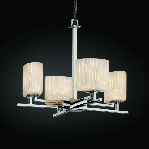 Matte Black Weave Tetra 4-Light Chandelier Rectangle Shade Justice Design Group Lighting FSN-8420-55-WEVE-MBLK Fusion