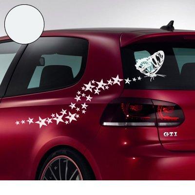 """A695 Autoaufkleber \""""Sternen Schmetterling\"""" 80cm x 43cm weiss (in 49 Farben und 6 Größen)"""