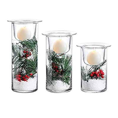 Whole Housewares Glass Hurricane Candle Holders with Decorative Christmas Ornaments - Set of 3(Candles Not Included) from Whole Housewares