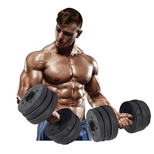 Manubri, 20 kg Set manubri Allenamento con i Pesi Sollevamento Palestra Fitness Bilanciere Bar