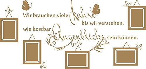GRAZDesign Wandtattoo Fotowand Wohnzimmer Wand-Spruch Jahre Augenblicke Wand-Dekoration (120x57cm // 081 Hellbraun)