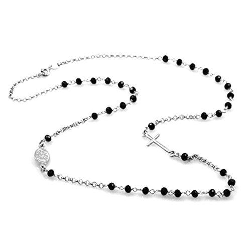 Sinfonie gioielli Collana uomo donna Rosario girocollo argento 925 perline nere croce e icona argento lunghezza 47 cm (Argento)