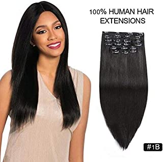 Full Head Clip in Real Hair Extensions, Re4U 20inch 180gram Thick Real Human Hair #1B Off Black Clip in Extensions for Short and Thin Hair (20