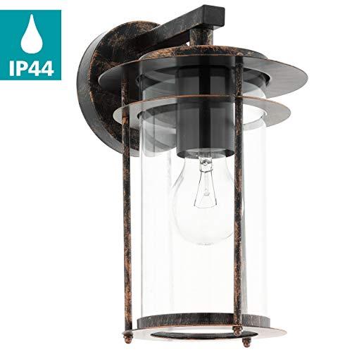 EGLO buiten-wandlamp Valdeo, 1 vlammige buitenlamp, wandlamp van verzinkt staal, kleur: antiek koperkleurig, glas: helder, fitting: E27, IP44