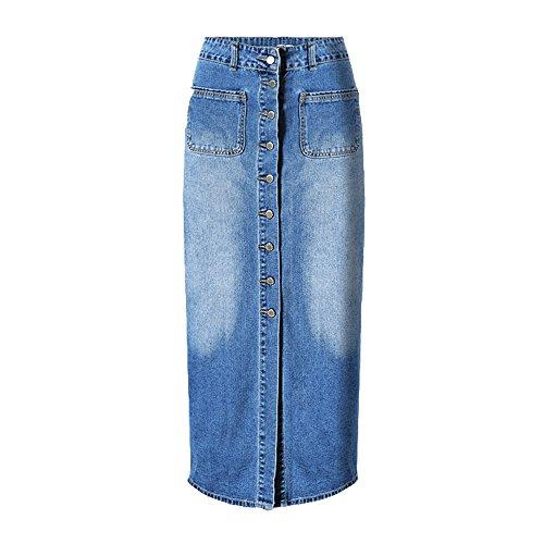 Dreamskull Women's High Waist Button Fly Skinny Denim Long Maxi Skirts