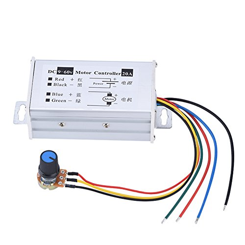 DC Motor Speed Controller, 9-60V DC 20A High Power PWM DC Motor Speed Regulator Stepless Variable Speed Regulator Switch Board with Button Switch and Metal Shell Product Name