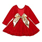 Toddler Baby Girls Red Christmas Dress with Large Bow Velvet Backless Party Dresses for Girl 3-4T