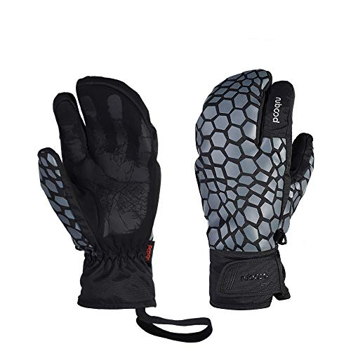 LANNIU Ski Gloves, Winter Glove Men Waterproof, 3-Finger Mittens Winter Warm Gloves with Touchscreen for Cold Winter Outdoor Sports (Gray, L)