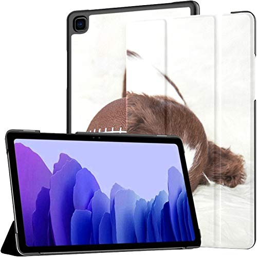 Custodia per Samsung A7 2020 Adorable Young Puppy Sleeping Next Football Fit Samsung Galaxy Tab A7 10.4 pollici 2020 Compatibile con Galaxy A7 Cover Tablet Custodia in pelle PU