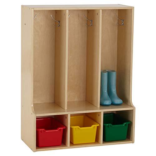 ECR4Kids Birch Streamline Classroom Locker with Bench - Hardwood Coat & Backpack Storage for Kids - 3-Section, Toddler (36
