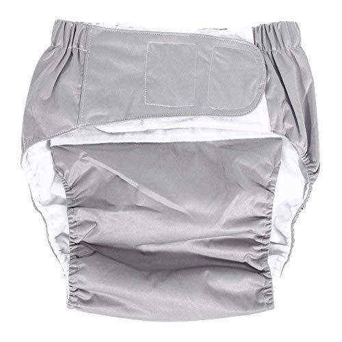 Wearable Inkontinenzhose Erwachsene Windelhosen Inkontinenz-Windel, Adjustable, waschbar, atmungsaktiv, Doppelöffnung Taschen, wiederverwendbare leakfree Stoffwindeln for Disability Pflege, Grau, 1pcs