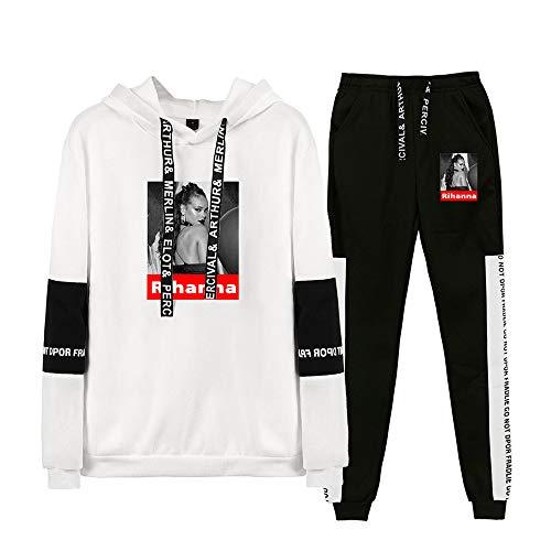 Rihanna Pullover Western Style Pullover Beiläufiges Thinner Sweatshirt-Langarmshirt Damen Outwear Recht Hoodies Net Red Coats Kleidung setzt Unisex Unisex (Color : White04, Size : M)
