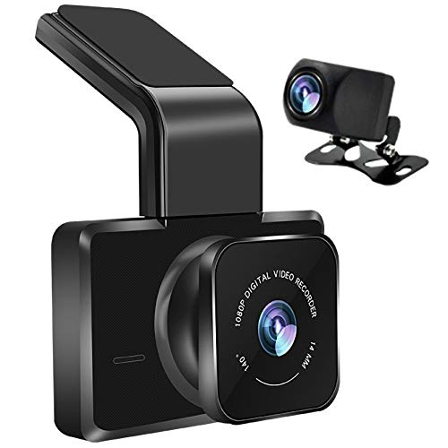LPWCAWL Dash CAM Doble, Mini Cámara De Coche WiFi, Grabadora De Conducción HD de 1080P con Pantalla IPS de 3 Pulgadas, Visión Nocturna, Rastreador GPS, Sensor-G, Grabación En Bucle