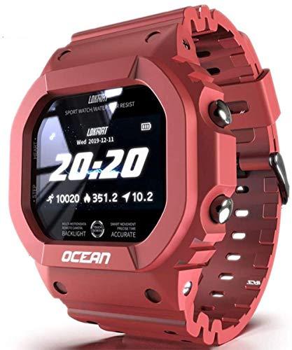 Smart Sportuhr, Digitaluhr Outdoor Multifunktions Quadrat Militär Uhr mit IP68 Wasserdicht Bluetooth Schrittzähler Kalorienneutral Rot