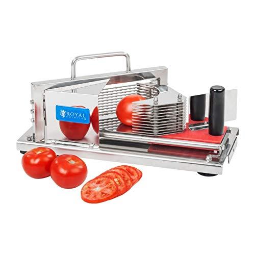 Royal Catering Tomatenschneider Edelstahl Gemüseschneider Mozzarellaschneider RCT-5 (5,5 mm Schnittdicke, Herausnehmbare 10 Klingen, Praktische Handgriffe, Gummifüße)