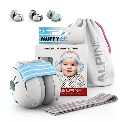 Alpine Muffy Baby Kapselgehörschützer Gehörschutz für Babys und Kleinkinder von 12 bis 36 Monate - Lärmschutz Verhindert Gehörschäden - Verbessert den Schlaf unterwegs - Bequeme Passform - Blau