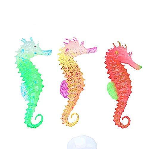 Yousir 3 Pcs Fisch Tank Leuchtend künstlich klein Seepferdchen Aquarium Dekorationen Hippocampus Ornament Haus Dekor