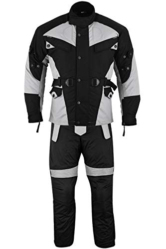 German Wear 2-teiler Motorradkombi Cordura Textilien Motorradjacke + Motorradhose, 48/S, Grau