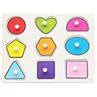 ゴシレ Gosear かわいい漫画パターン木造教育ジグソーパズルおもちゃ簡単に把握ペグ子供赤ちゃん子供男の子女の子-幾何学的図形