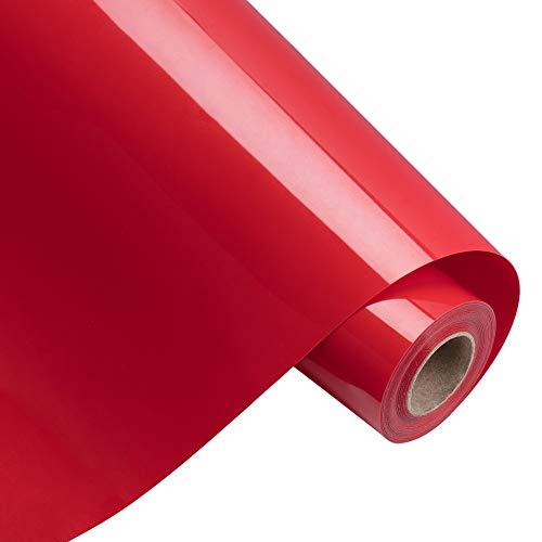 BENECREAT 5mx30cm Rollo de Vinilo de Transferencia de Calor Rojo Papel de Transferencia para Camisetas Ropa Sombreros Bolsos y la Mayoría de Las Superficies Textiles