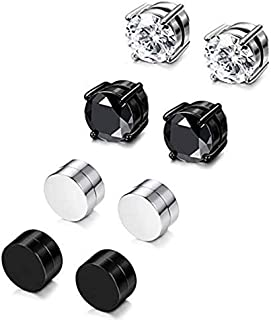KARAY 4 Pairs Stainless Steel Magnetic Stud Earrings for Men Women Non Piercing Clip on CZ Earrings 6MM (4 Pairs a Set)
