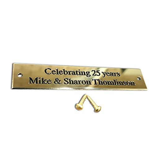 Rectangular solid brass engraved nameplate, Small 100mm x 20mm. Personalised engraved memorial plaque