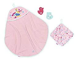 Sponges and flannel decorated with droplets and Berta the Duck. Great fun drying and wrapping BABY born in her hooded towel Use flannel and sponges to wash BABY born before wrapping her up to dry in her hooded towel Great bath time accessories Suitab...