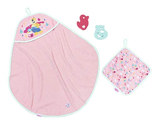 Zapf Creation 827444 BABY born Bath Kapuzenhandtuch & Schwamm Puppenzubehör 4-teilig, rosa