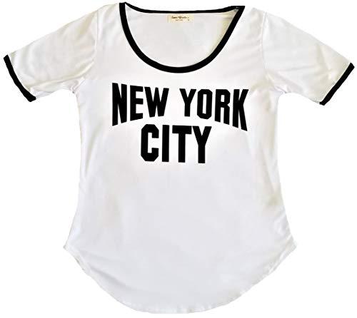 Ladies New York City Lennon Tee Ringer Round Bottom Vintage NYC Tshirt for Women (X-Large) White/Black