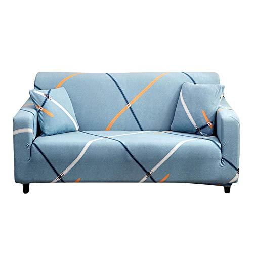 Blue Sofa Cover Kussenbeschermer Stofdichte Slipcover, Sofa Cover Omkeerbare Bank Slipcover Meubelbeschermer, 95% Polyester + 5% Spandex(voor 1, 2, 3 Personen Bank) Slaapbank met twee zitplaatsen