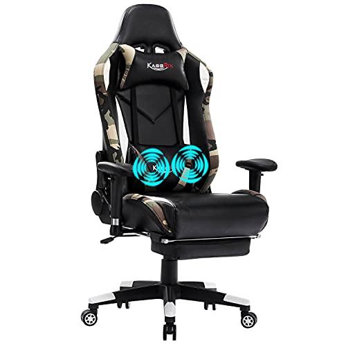 KASORIX Gaming Stuhl Gamer Stuhl ergonomischer Ledersessel Bürostuhl E-Sport Stuhl mit Massage-Lordosenstütze Drehstuhl verstellbaren Armlehnen und Wippfunktion (8508-tarnung)
