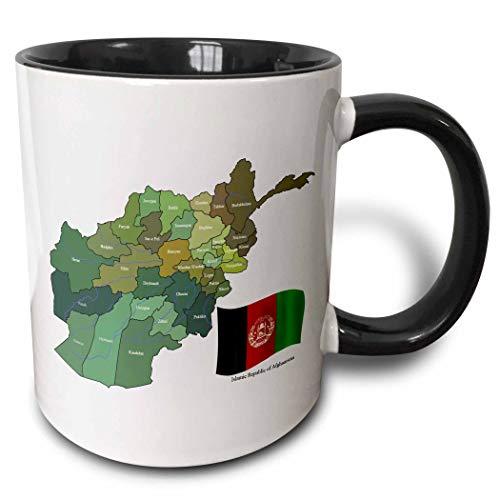 N\A Die Karte & Flagge der Islamischen Republik Afghanistan mit Allen Provinzen markiert Two Tone Mug, Schwarz/Weiß