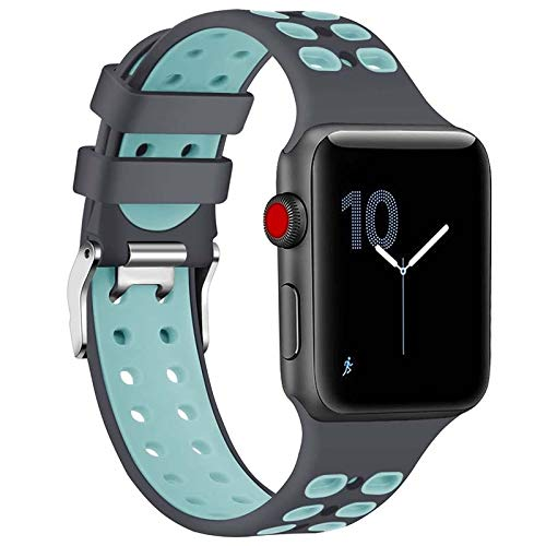 AIREQN Suave Reloj Elegante Correa de Silicona de 38 mm de 42 mm de IWatch for 1/2/3/4/5 de Silicona porosa de Correas for Relojes y Transpirable (Color : Gray Teal, Size : 42mm)
