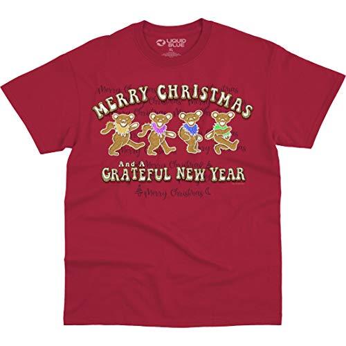 Liquid Blue Grateful Dead Gingerbread Bears Merry Christmas T-Shirt, Red, Medium