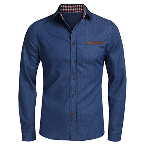Allence Jeanshemd Herren Denim Shirt Langarmhemd Cowboy-Style Freizeit Hemd männer Kent-Kragen Business Casual