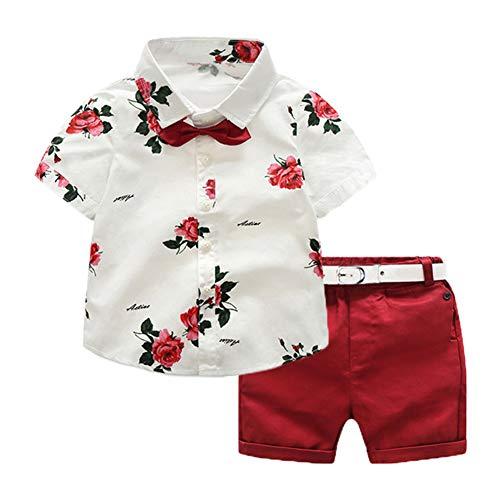 Geagodelia 2tlg Kinderkleidung Babykleidung Set Kinder Baby Jungen Kleidung Outfit Kurzarm Hemd Top + Shorts Kleinkinder Weiche Strand Babyset T-39658 (2-3 Jahre, Blumen - Rot 789)