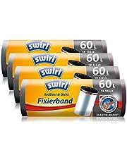 Swirl Vuilniszak met fixeerband, 60 liter, 4 rollen (4 x 10 stuks), antraciet