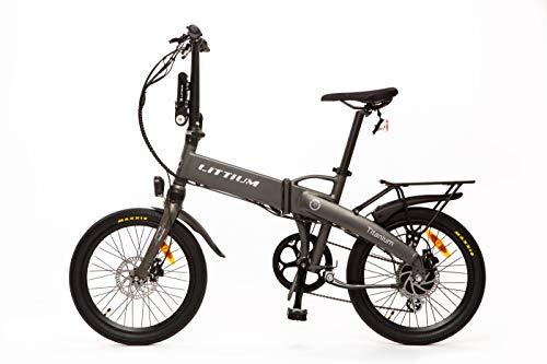 Littium Bicicleta eléctrica Ibiza Titanium 10.4A, Adultos Unisex, Titanio, Plegable