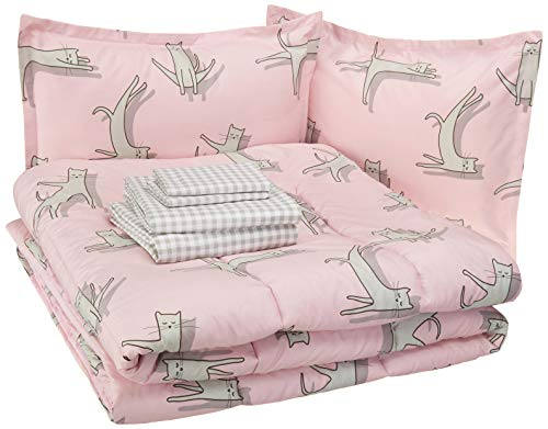 Amazon Basics Easy Care Super Soft Microfiber Kid's Bed-in-a-Bag Bedding Set - Full / Queen, Pink Cats