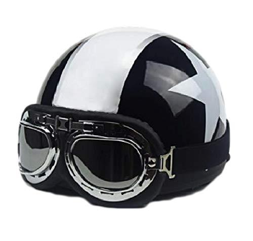 GOHAN(ゴハン) バイクヘルメット ハーレー ヘルメット ハーフ 半帽 フリーサイズ ゴーグル 取り外せるマフ...